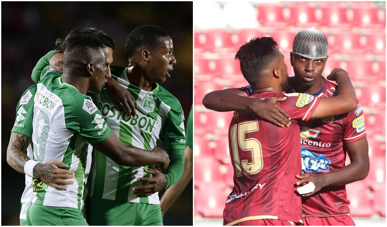 Jugadores de Atlético Nacional y Deportes Tolima