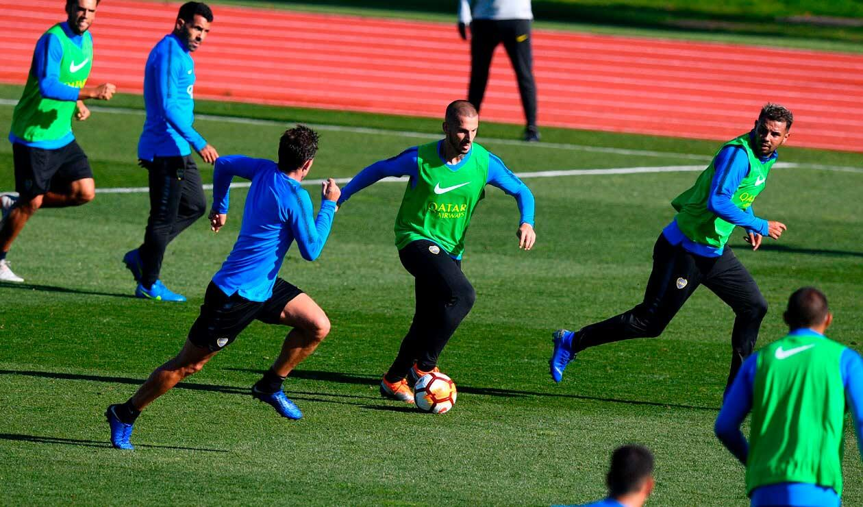 Los jugadores de Boca Juniors hacen su primer entrenamiento en Madrid