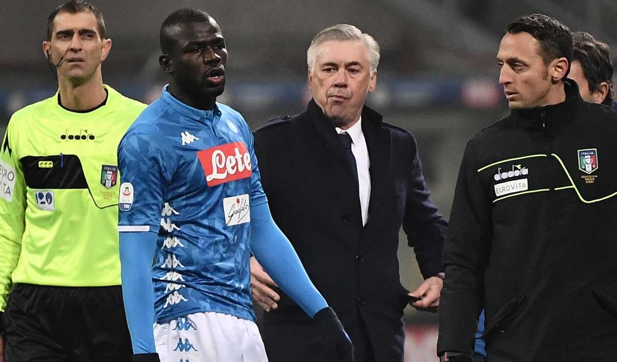 Kalidou Koulibaly y Carlo Ancelotti - Napoli 2018