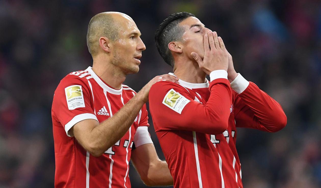 Robben y James Rodríguez en el Bayern Múnich