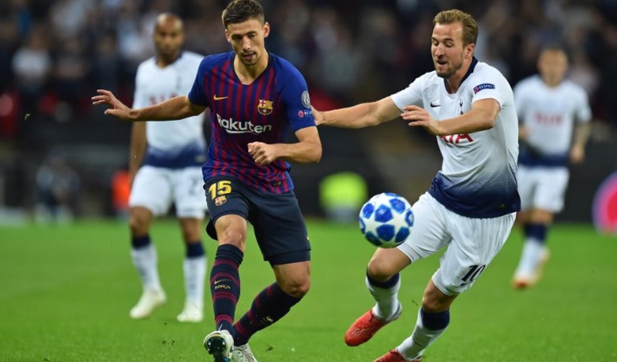 Harry Kane en el partido ante Barcelona por la Champions League