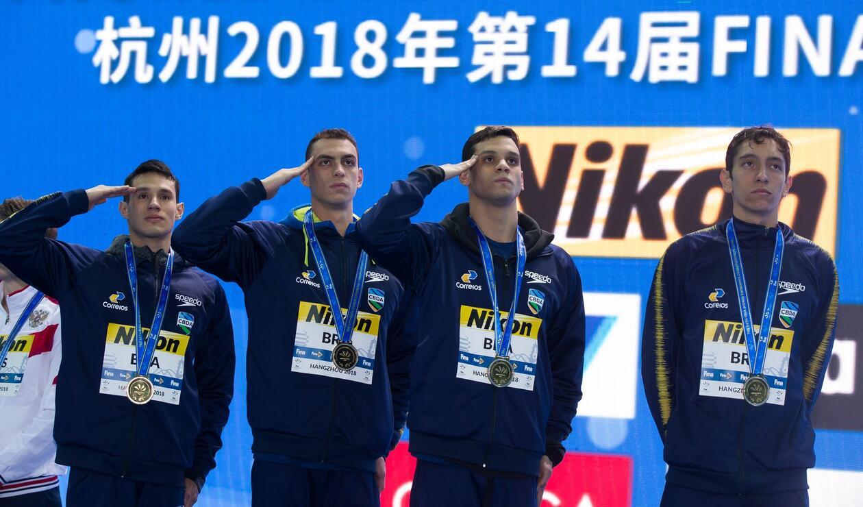Brasil campeón en relevos 4x200 en los mundiales de natación