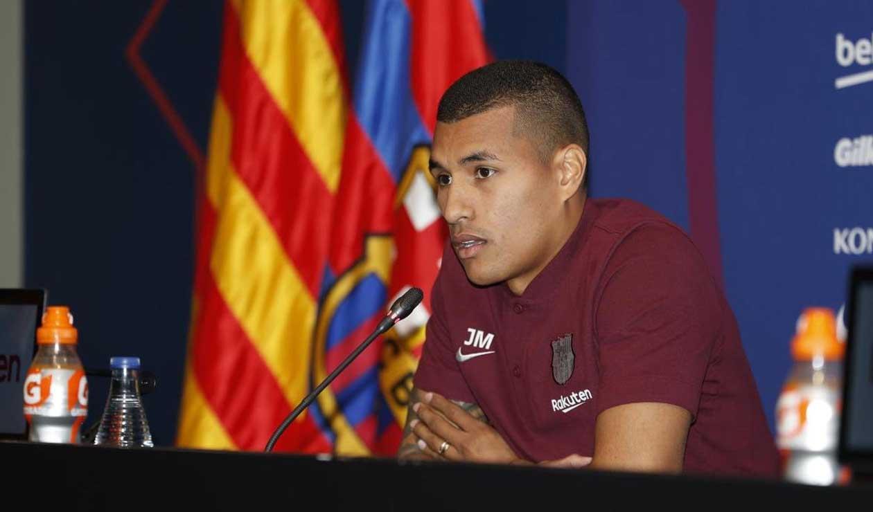 Murillo en rueda de prensa tras su llegada al Barcelona