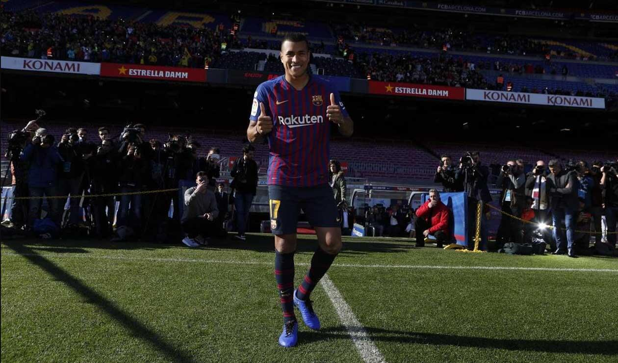 Jeison Murillo pisando por primera vez el Camp Nou como jugador del Barcelona