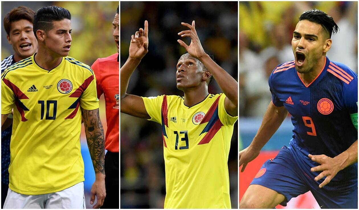 James Rodríguez, Yerry Mina y Falcao