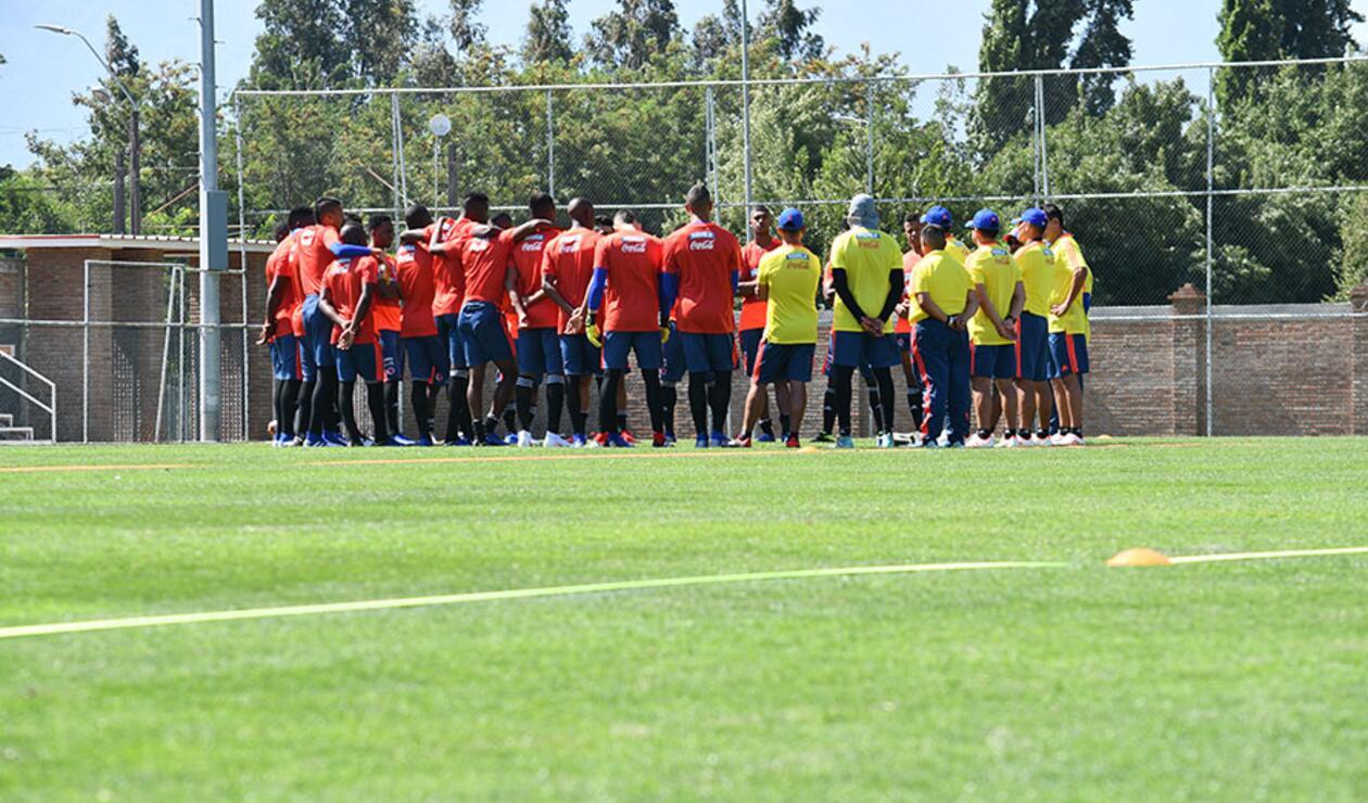 La Selección Colombia sub-20 en uno de sus entrenamientos en territorio chileno