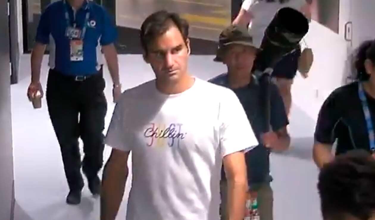 Roger Federer, momentos antes de llegar a su camerino en el Melbourne Park