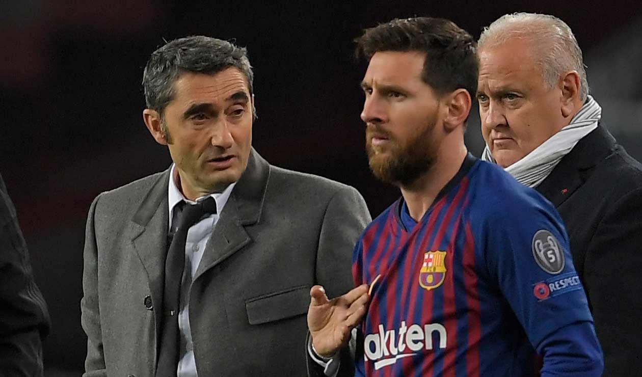 Ernesto Valverde y Lionel Messi