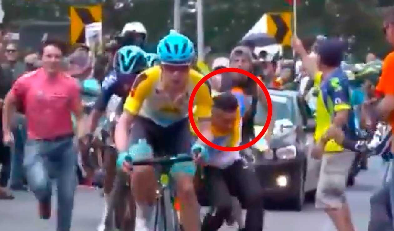 Caída de Nairo Quintana en el Tour Colombia