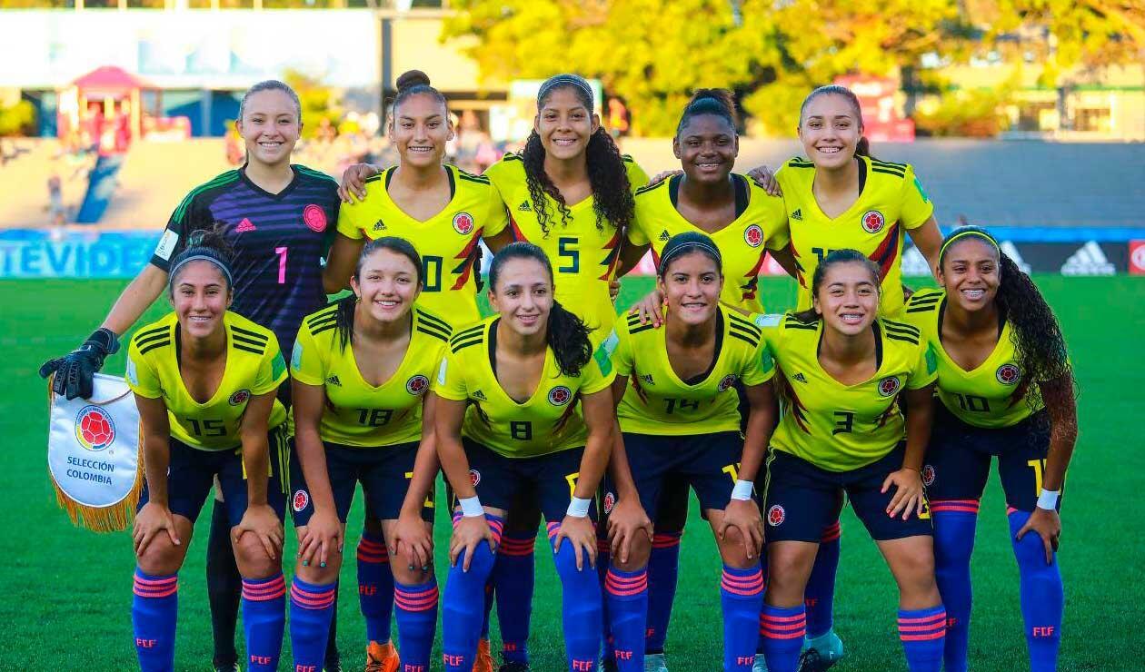 La Selección Colombia sub-17 durante el Mundial de la categoría disputado en Uruguay