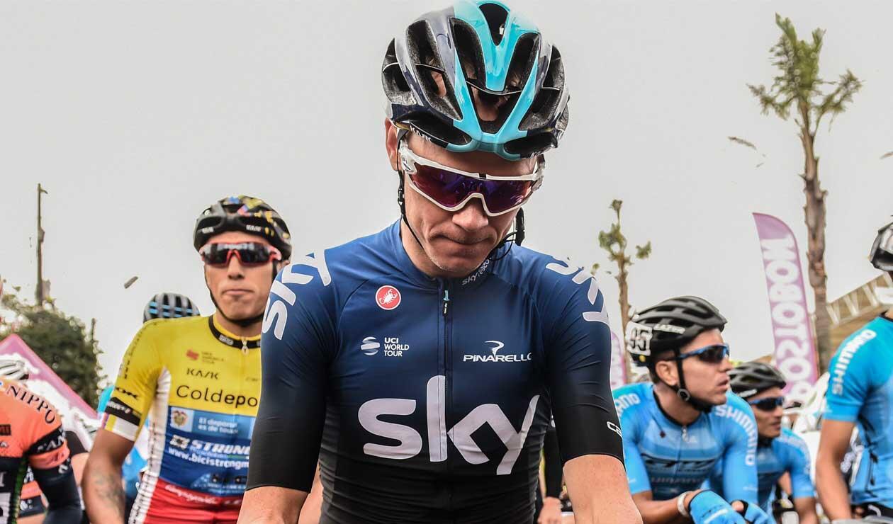 Chris Froome antes de partir en una de las etapas del Tour Colombia