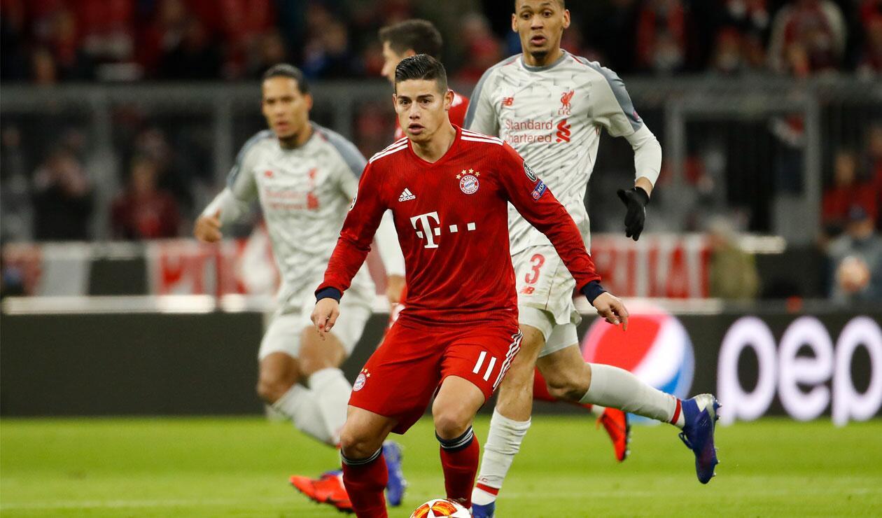 James Rodríguez durante el partido del Bayern ante Liverpool en los octavos de final de la Champions