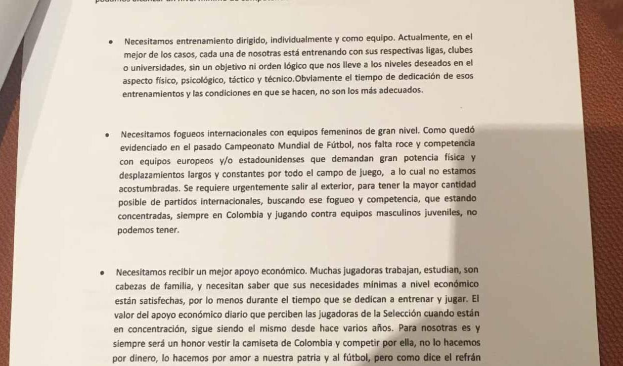 Carta Selección Femenina 2012