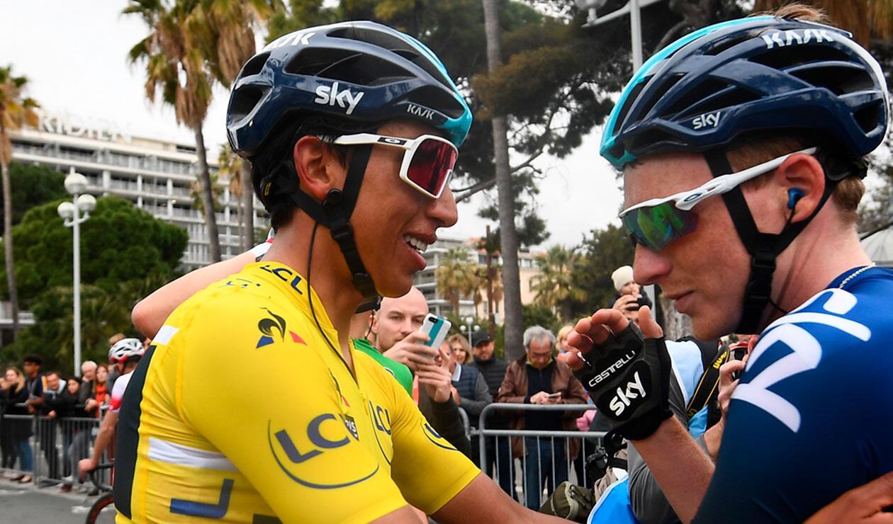 Egan Bernal luego de pasar la meta en la última etapa de la París-Niza