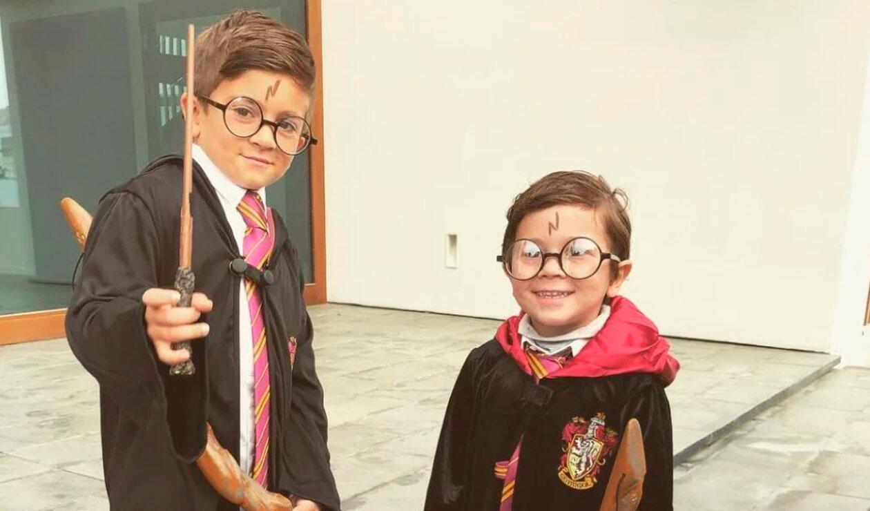 Thiago y Mateo, los hijos de Lionel Messi, disfrazados de Harry Potter