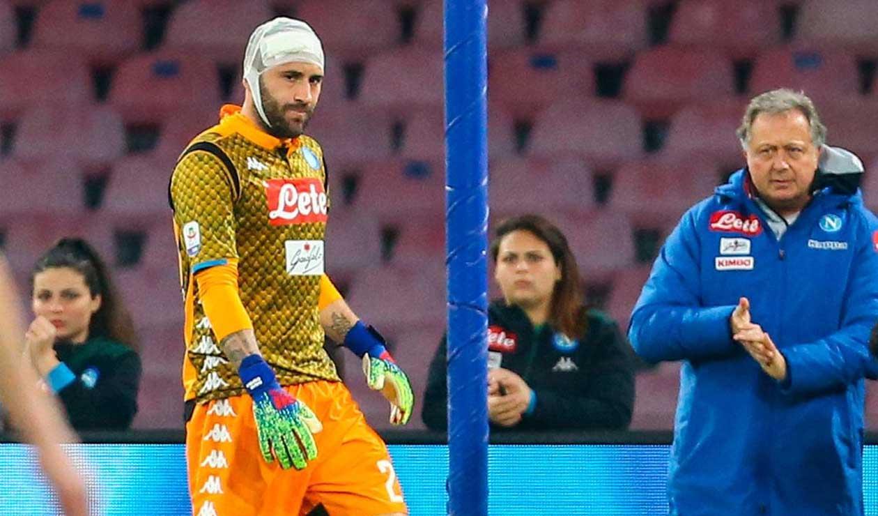 David Ospina, luego de chocar con Ignacio Pussetto, en el Nápoli vs Udinese.