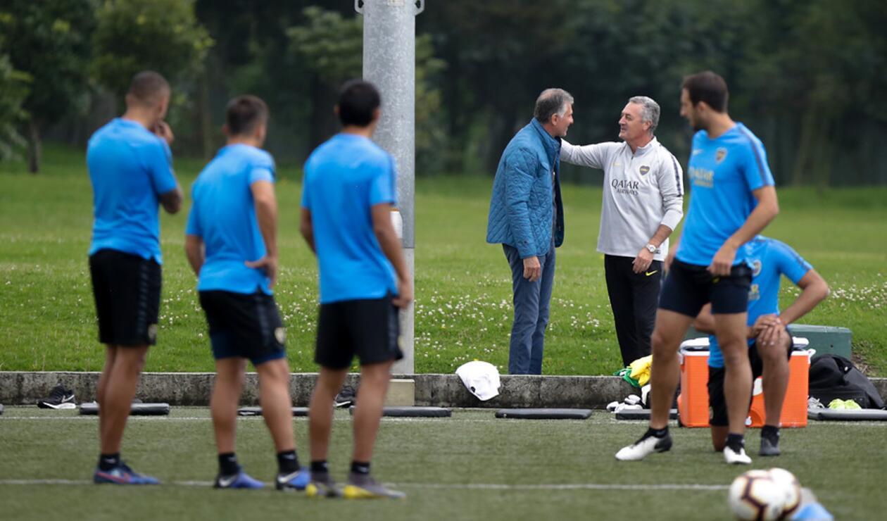 Carlos Queiroz, técnico de Colombia, y Gustavo Alfaro, entrenador de Boca Juniors
