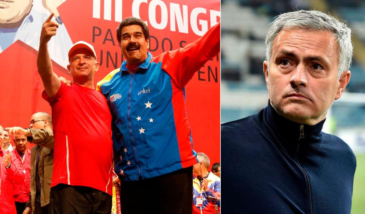 El exgeneral venezolano Hugo Carvajal junto al líder del régimen venezolano, Nicolás Maduro. Al lado, el técnico portugués José Mourinho.