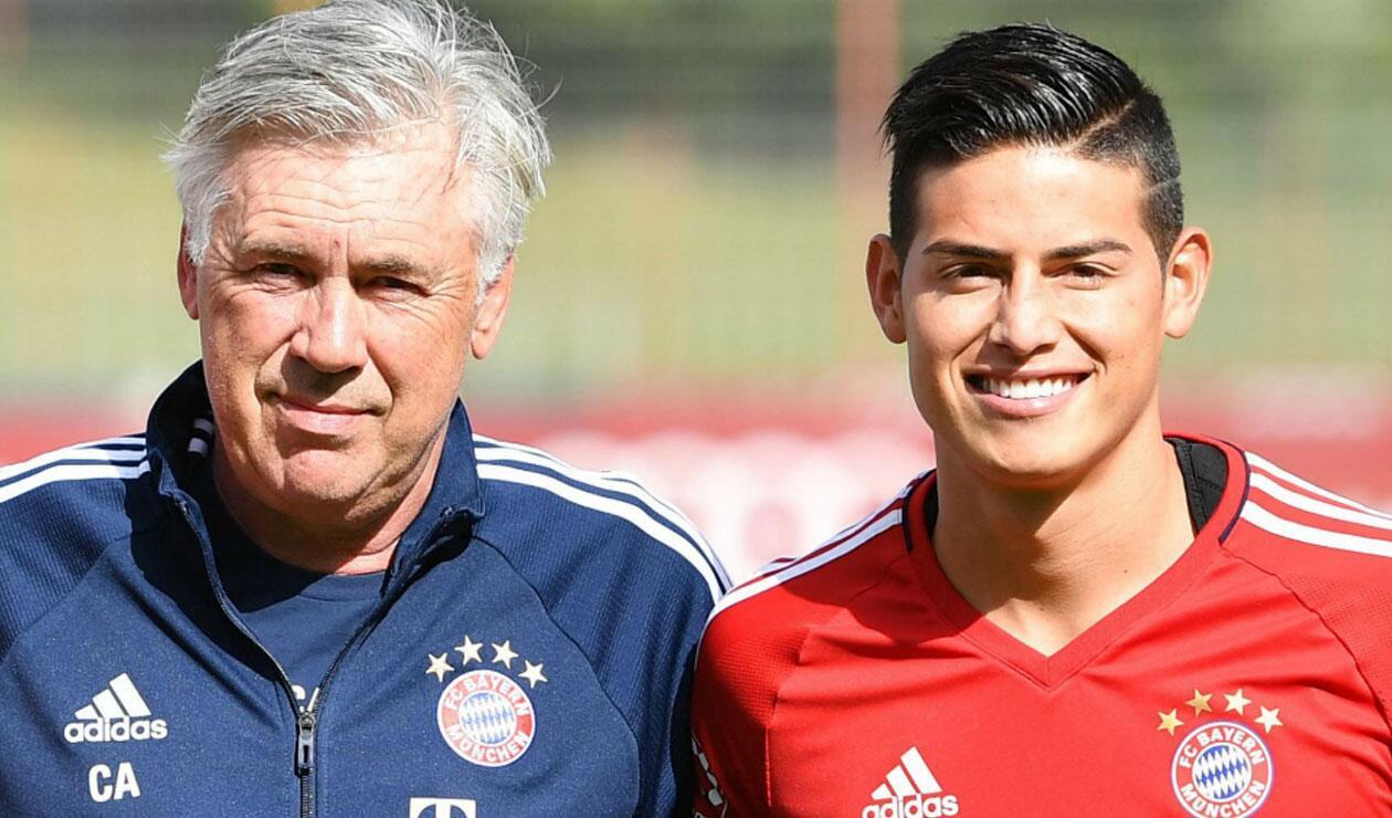 James Rodríguez junto a Carlo Ancelotti