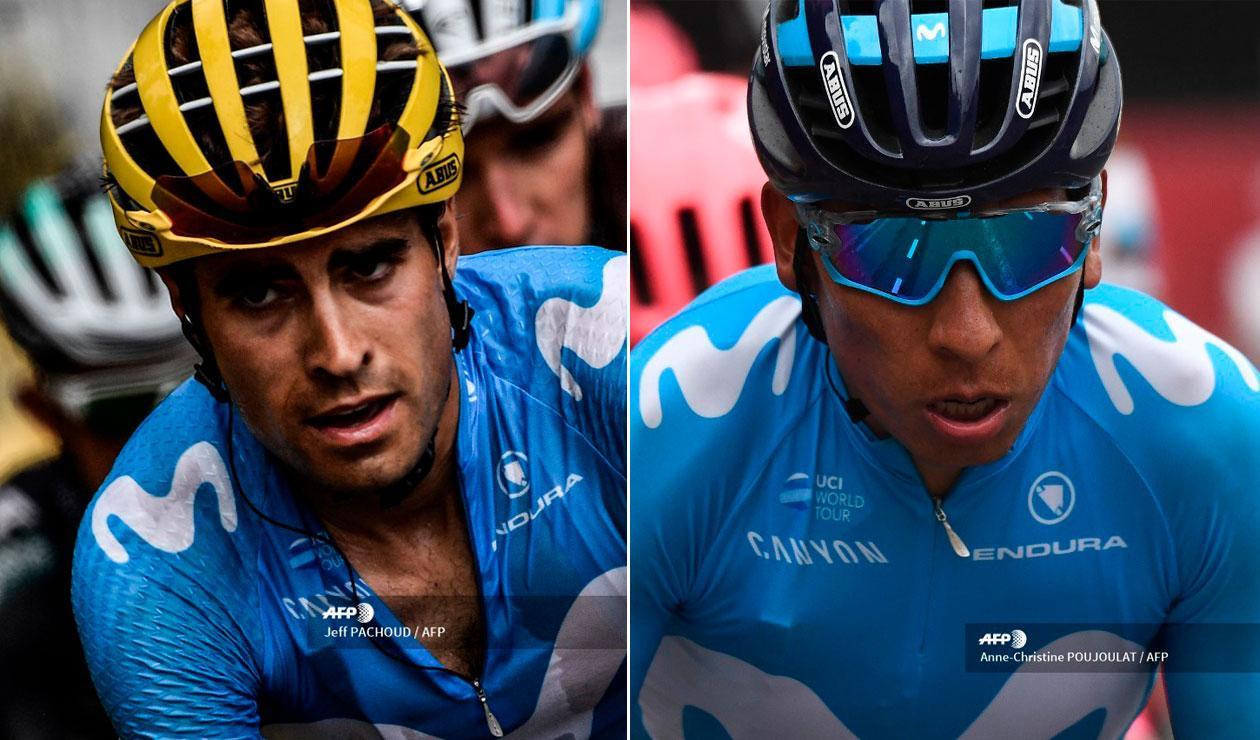 Míkel Landa y Nairo Quintana, corredores del Movistar