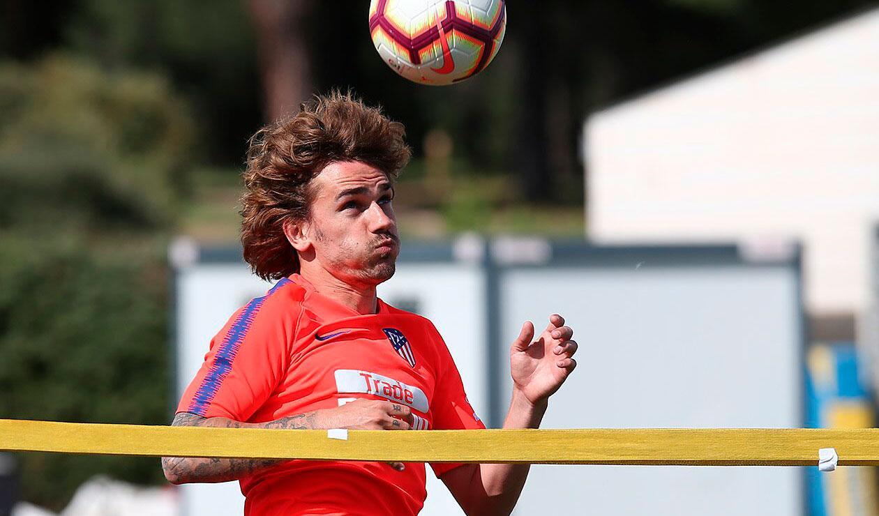 Antoine Griezmann en un entrenamiento con el Atlético de Madrid
