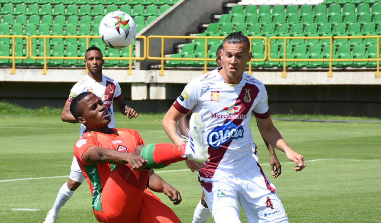 Patriotas en el partido frente a Deportes Tolima en Tunja