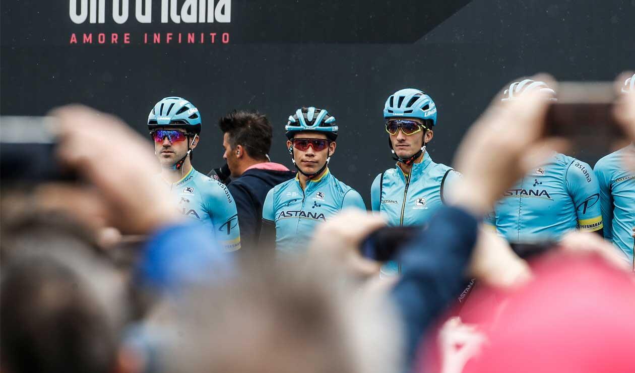 Miguel Ángel 'Superman' López antes de la etapa 16 del Giro de Italia.