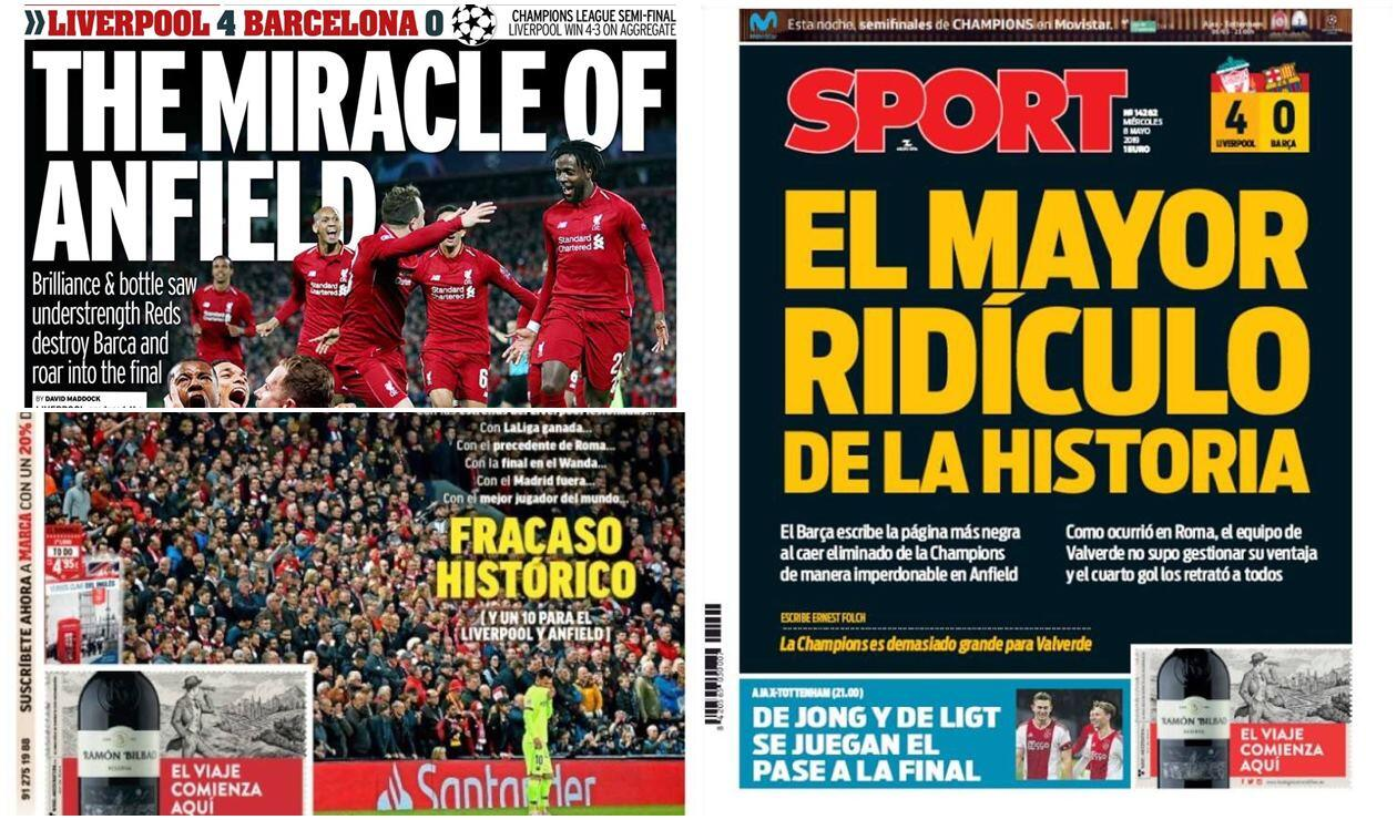 Portadas del mundo tras victoria del Liverpool sobre el Barcelona