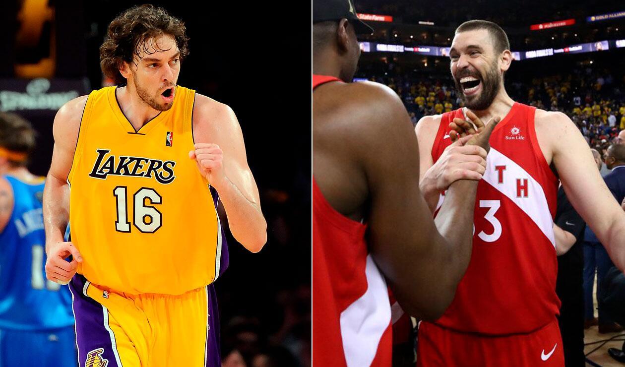 Pay y Marc Gasol campeones de la NBA con Lakers y Toronto, respectivamente.