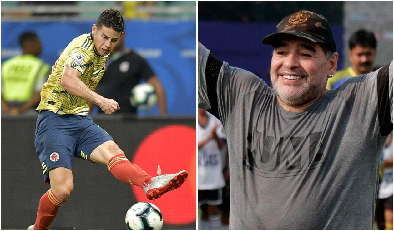 James Rodríguez y Diego Armando Maradona