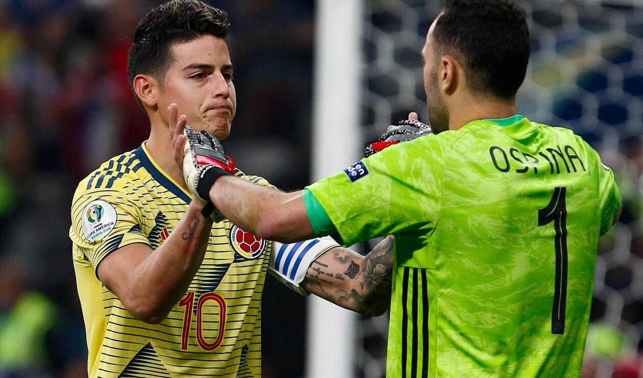 James Rodríguez y David Ospina en el Colombia Vs Chile - Copa América 2019