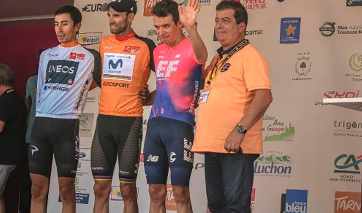 Ruta de Occitania 2019 - podio con Rigoberto Urán e Iván Sosa