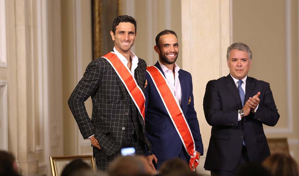 Robert Farah y Juan Sebastián Cabal, junto al presidente Iván Duque.
