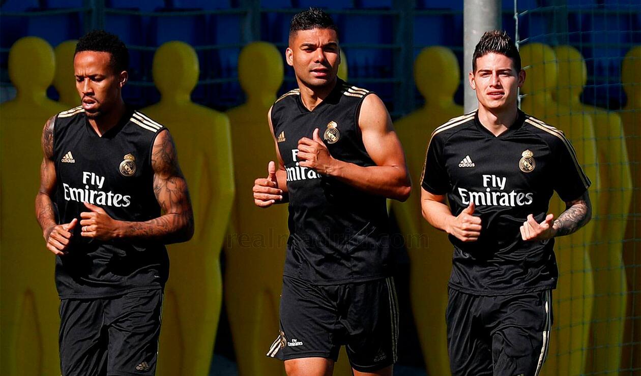 Eder Militao, Casemiro y James Rodríguez entrenando en Madrid
