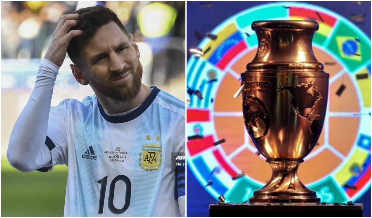 Lionel Messi y el trofeo de la Copa América