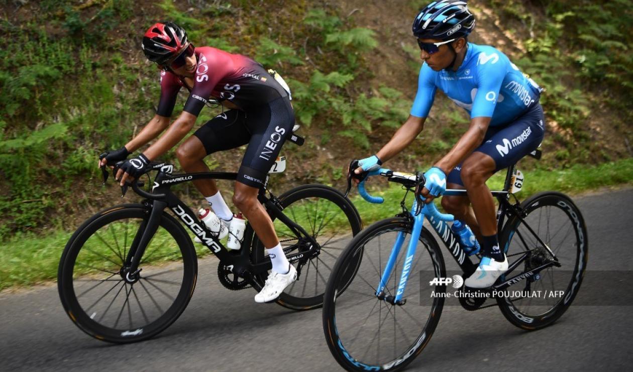 Nairo Quintana y Egan Bernal en el Tour de Francia 2019