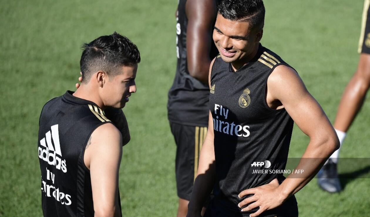 James Rodríguez entrenando en Real Madrid