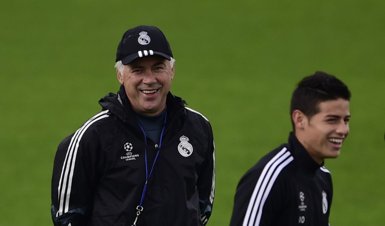 James y Ancelotti en el Real Madrid