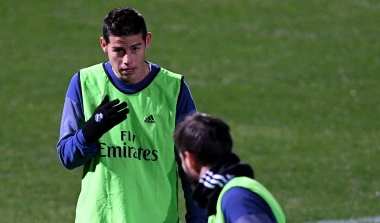 James Rodríguez, entrenando con el Real Madrid