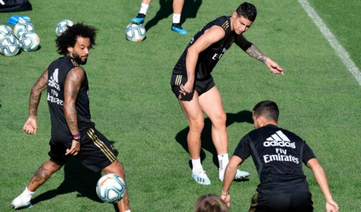 James Rodríguez en el entrenamiento del Real Madrid