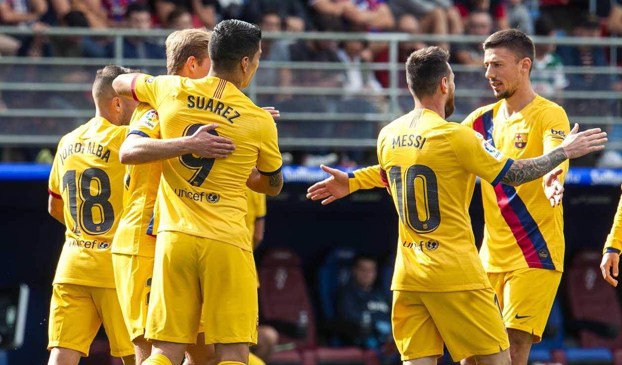 Barcelona celebrando un triunfo