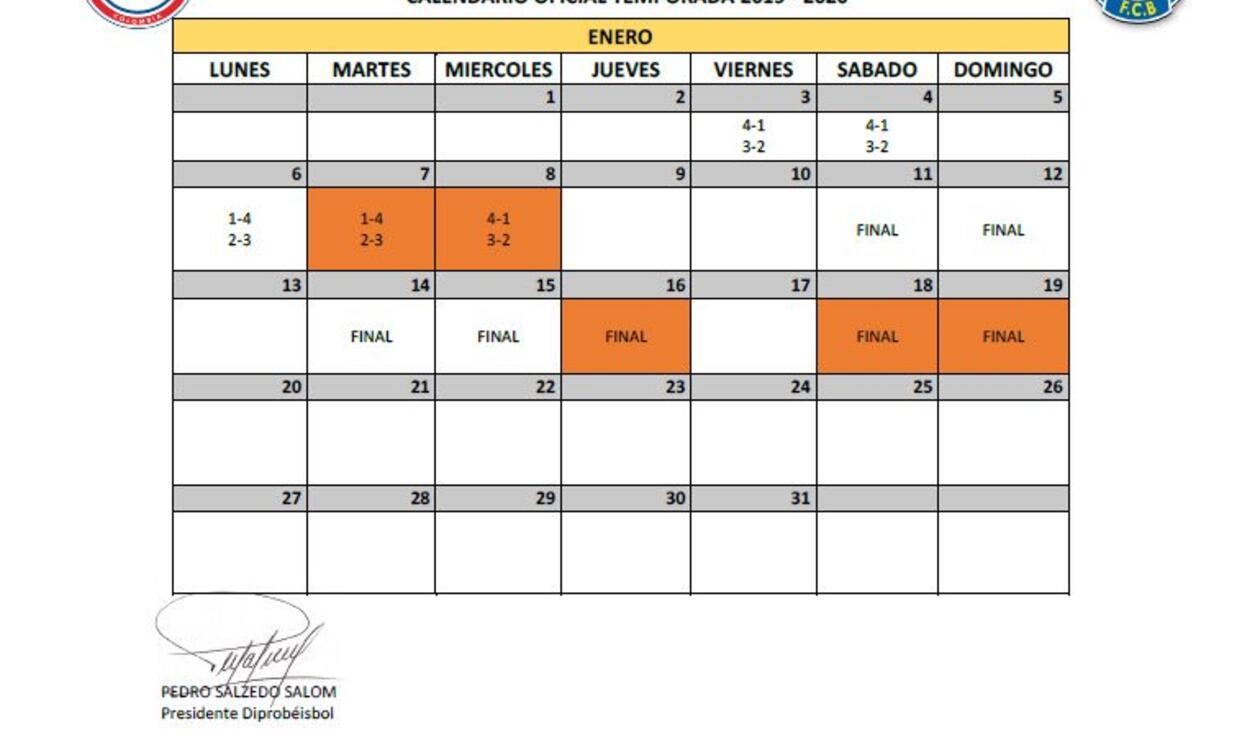 Calendario béisbol colombiano