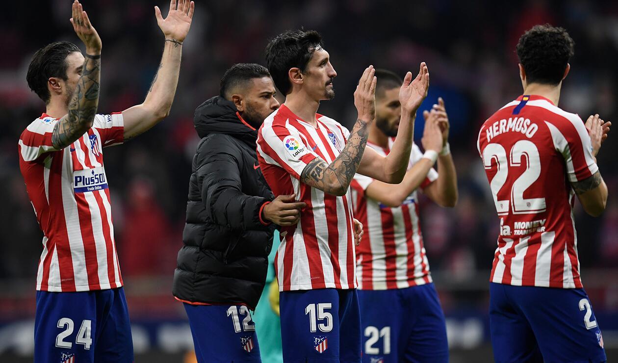 Atlético de Madrid celebran la victoria