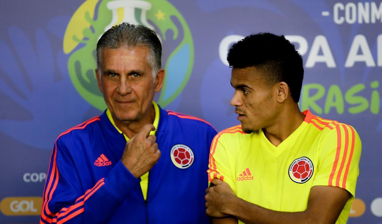 Luis Díaz y Carlos Queiroz - Selección Colombia