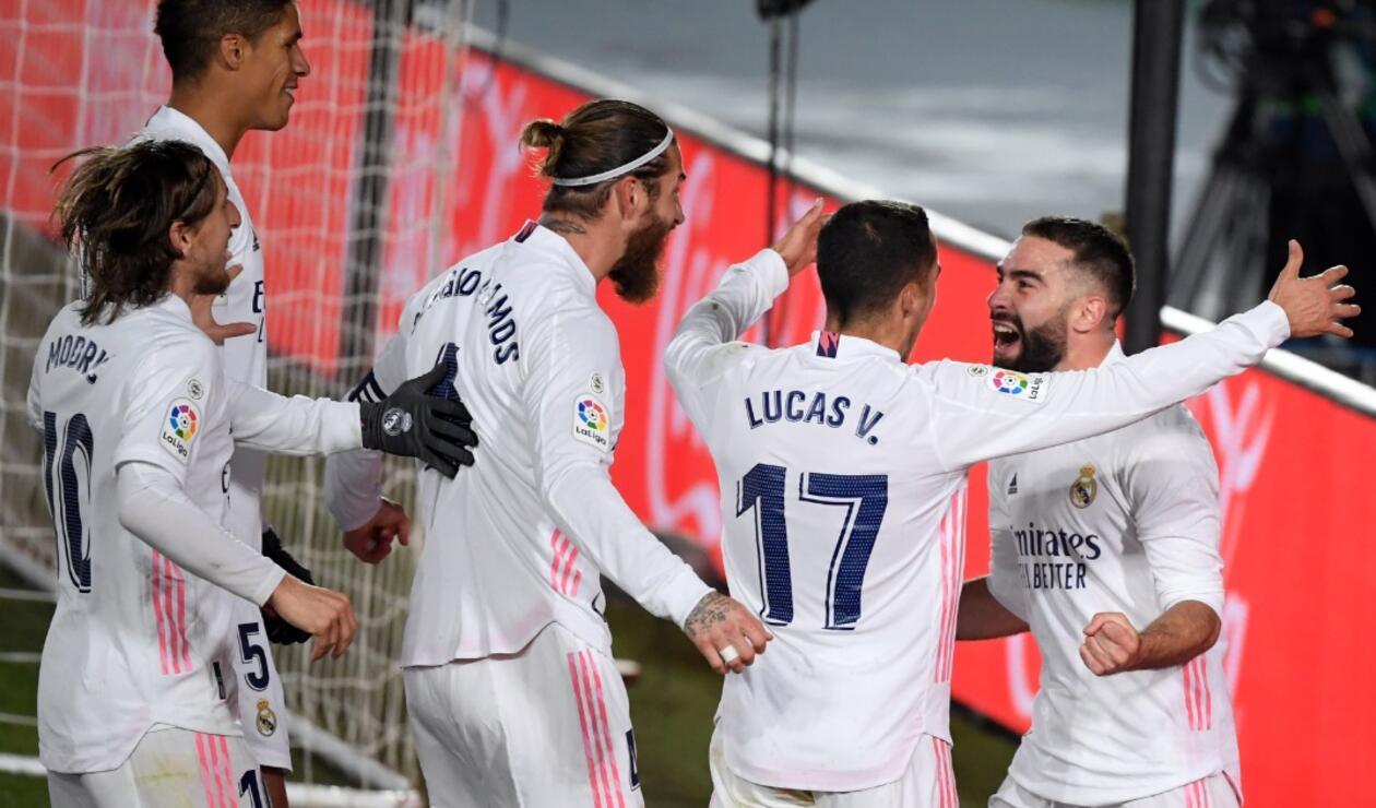 Real Madrid festejando triunfo ante el Atlético