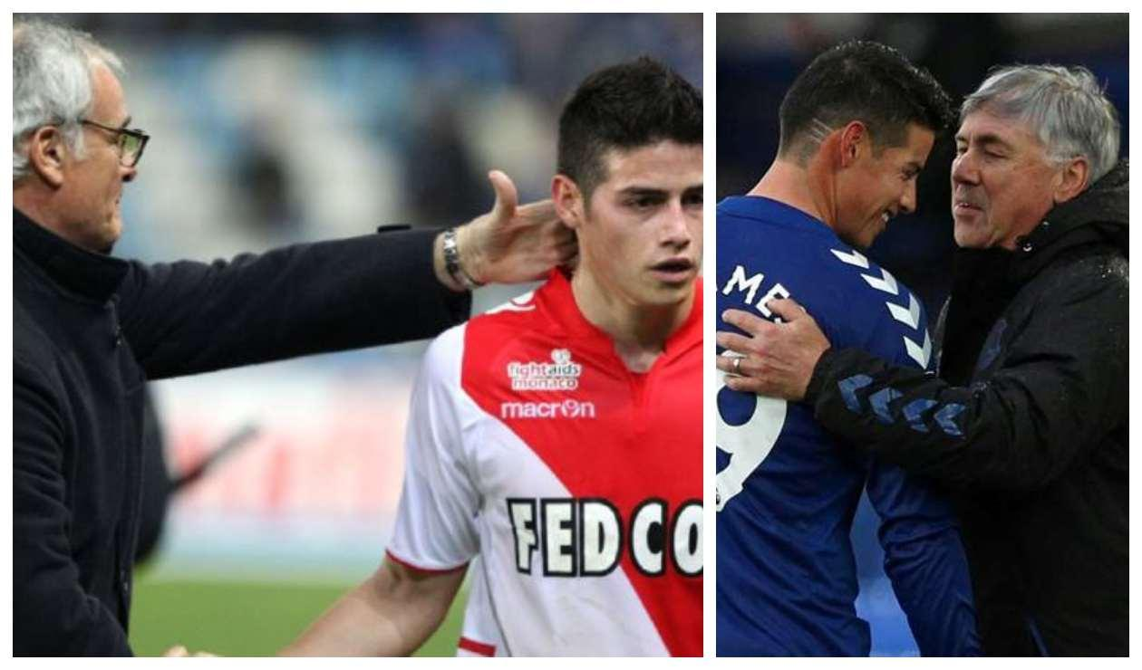 James con Ranieri y Ancelotti