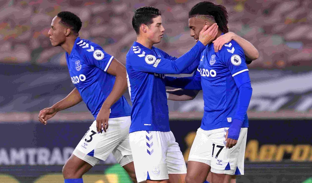 James y Yerry Mina - Everton vs Wolverhampton