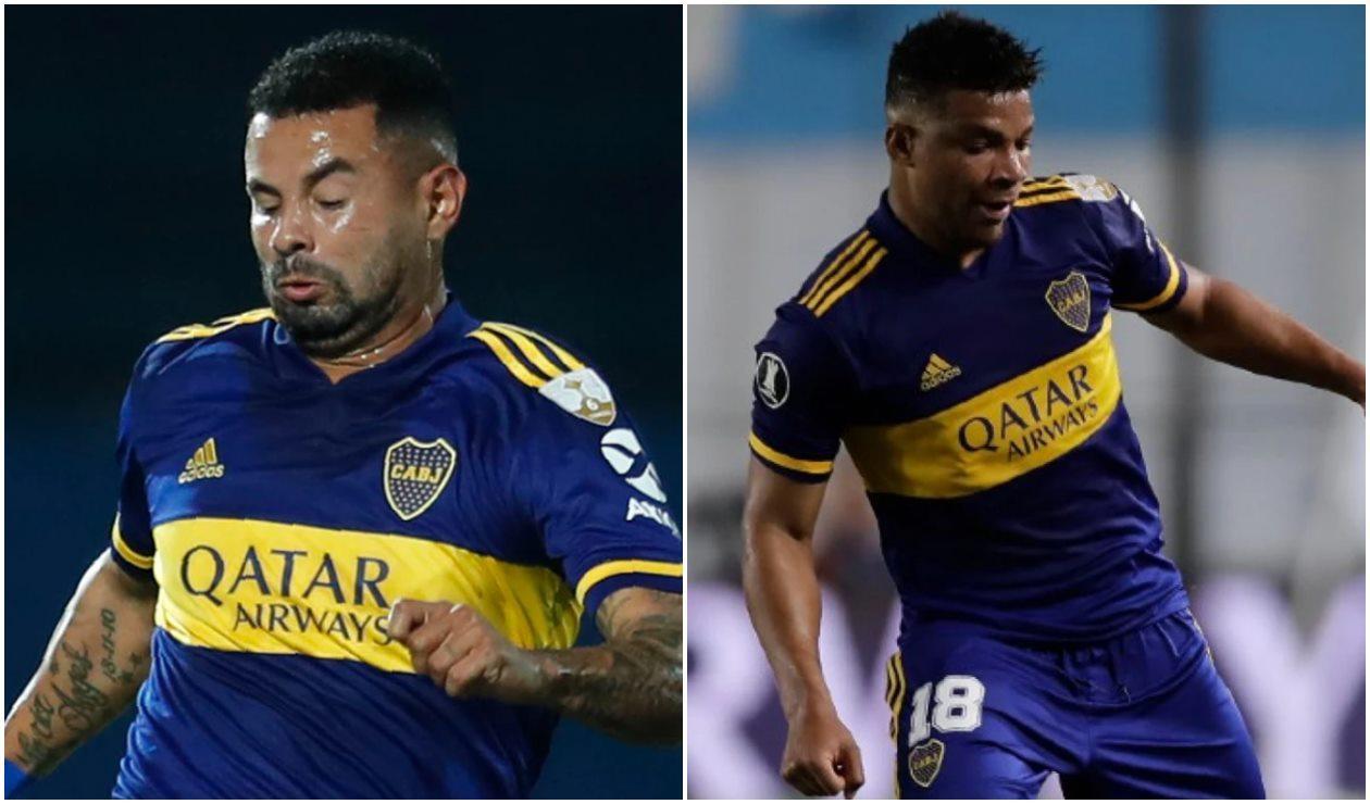 Edwin Cardona y Frank Fabra, jugadores de Boca Juniors