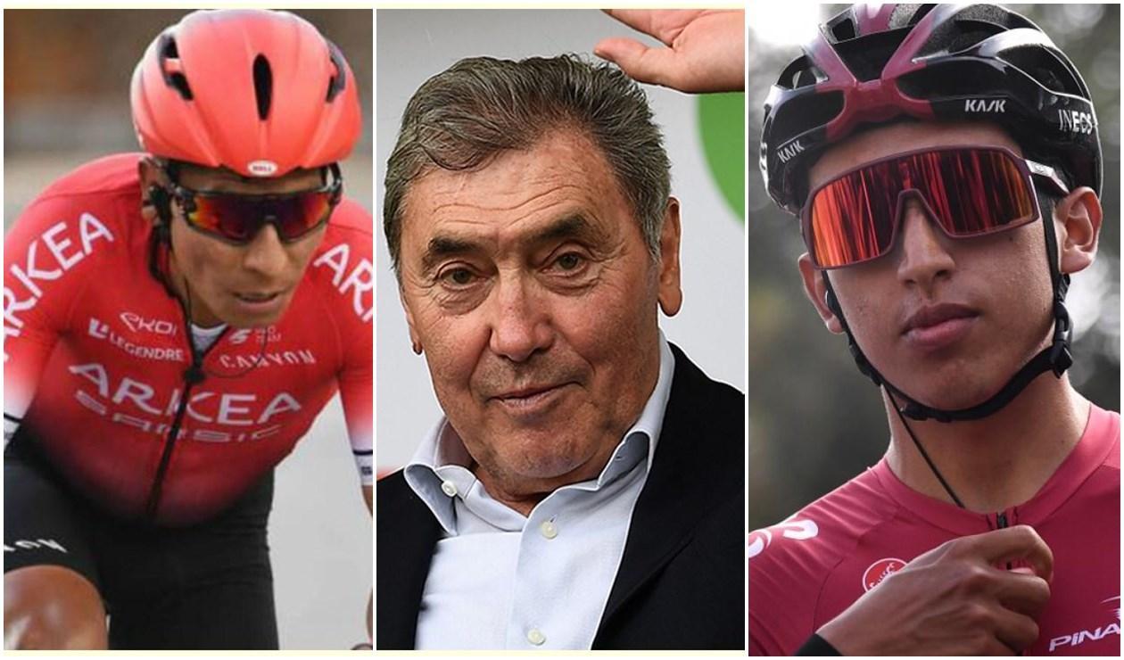 Eddy Merckx, Nairo Quintana y Egan Bernal