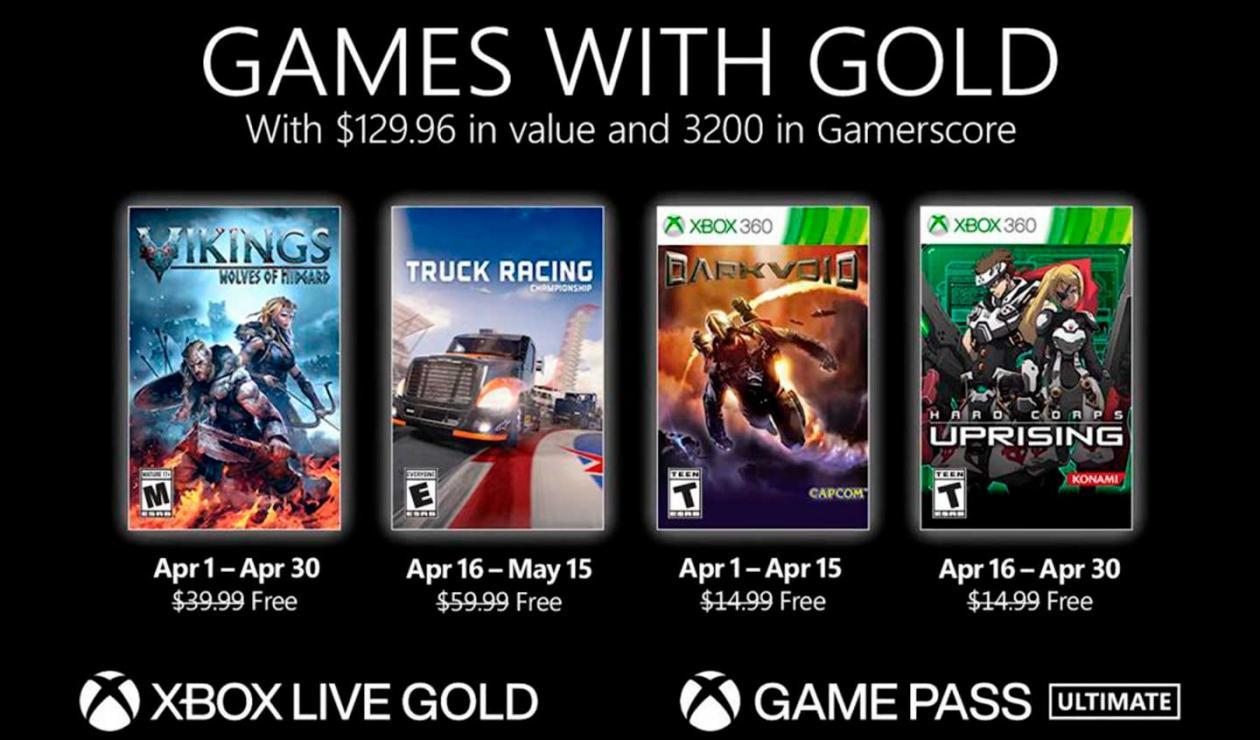 Xbox games gold para abril de 2021